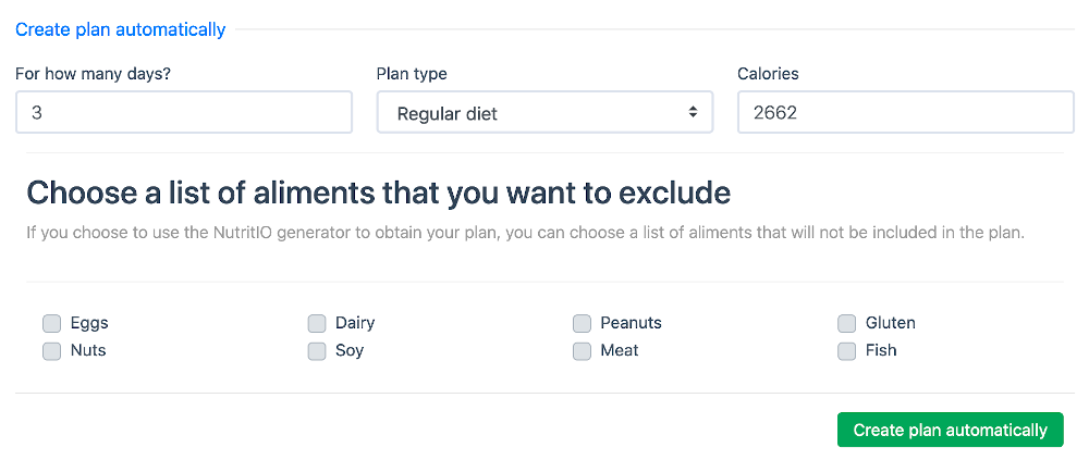 Meal plans generator