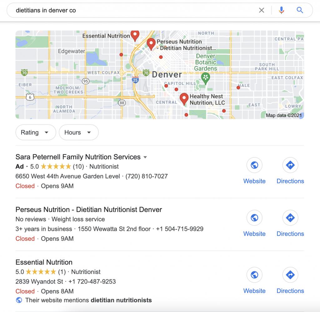 Google My Business nutritionist dietitian